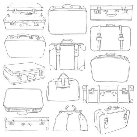 Conjunto de Maletas del vintage del doodle - para el diseño de vectores