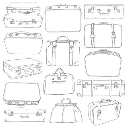 Set of Vintage Suitcases doodle - for design in vector