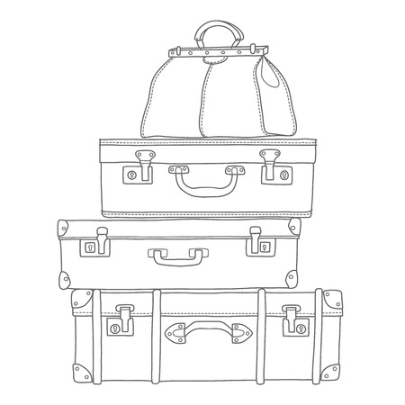 Sketch of the suitcases on white background, isolated vector Ilustração