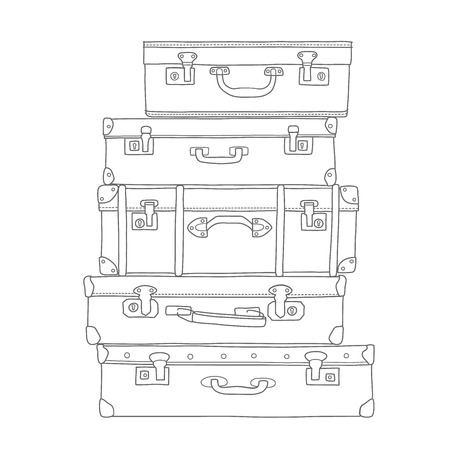 Sketch of the suitcases on white background, isolated vector Фото со стока - 39300486