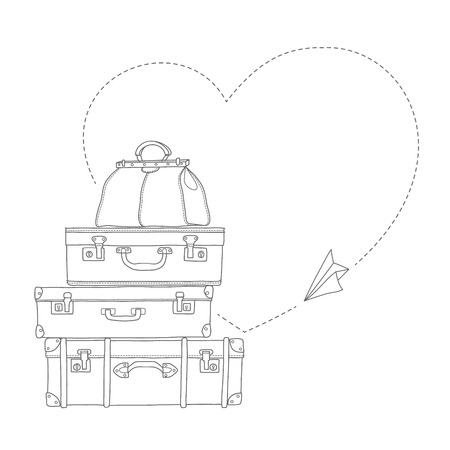 paper plane: Vector illustration of flying paper plane around travel suitcases isolated