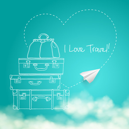 plane vector: Illustration of flying paper plane around travel suitcases on sunny sky with clouds background vector