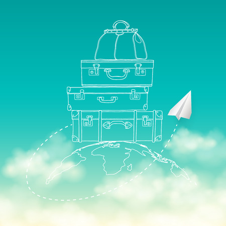 paper plane: Vector illustration of flying paper plane around travel suitcases on planet sky with clouds background
