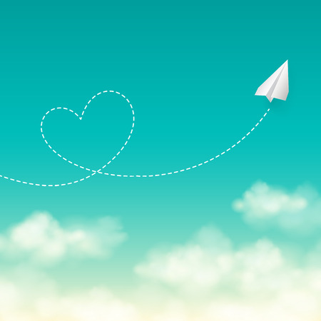 Love travel concept a paper plane flying in the sunny blue sky leaving behind a heart shaped smoke trail vector background