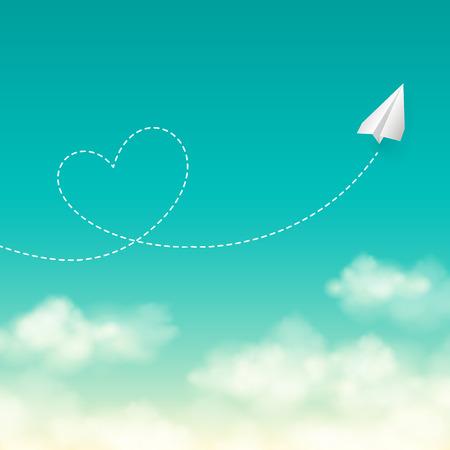 trajectoire: Love concept de Voyage un avion de papier volant dans le ciel bleu ensoleill� laissant derri�re lui une forme de coeur de la fum�e vecteur de piste de fond