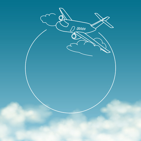plane cartoon: Airplane on background of cloudy sky with space for text vector banner Illustration