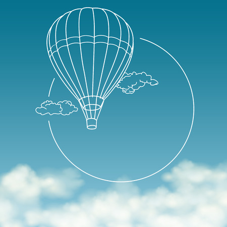 hot: Balloon on background of cloudy sky with space for text vector banner Illustration