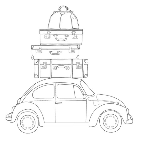 family van: Auto travel retro car with luggage on the roof. Hand drawn sketch illustration
