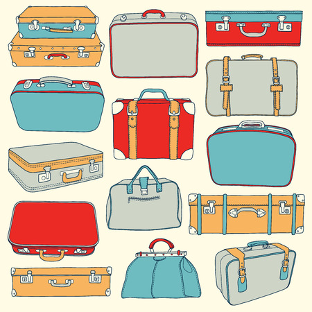 Vector Collection of vintage suitcases. Travel Illustration Vettoriali