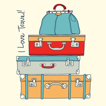 maleta: Me encanta viajar. Viaja tarjeta conceptual con maletas de la vendimia en el vector Vectores