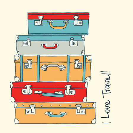 suitcase: Collection of travel retro suitcases love travel concept vector