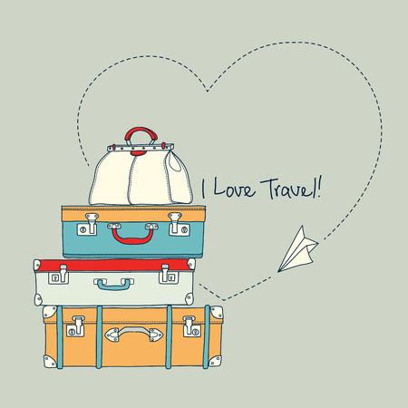 ベクトル図のまわりの飛行の紙飛行機の旅行スーツケース