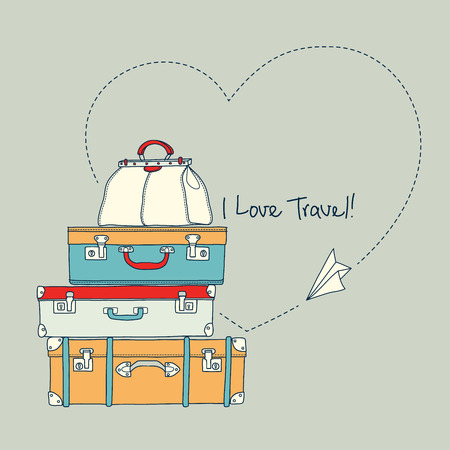 Vector illustration of flying paper plane around travel suitcases