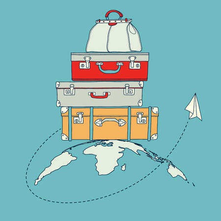 Vector illustration of flying paper plane around travel suitcases on planet background Vector