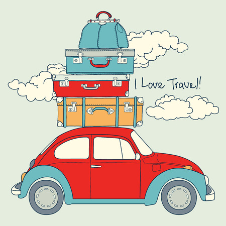 Retro Car Loaded For a Traveling Vector  Card Vector