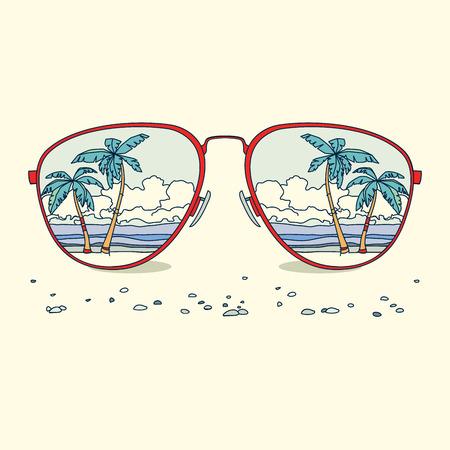 ビーチ、ヤシの木のサングラスの反射。ベクトルの背景 写真素材 - 39646166