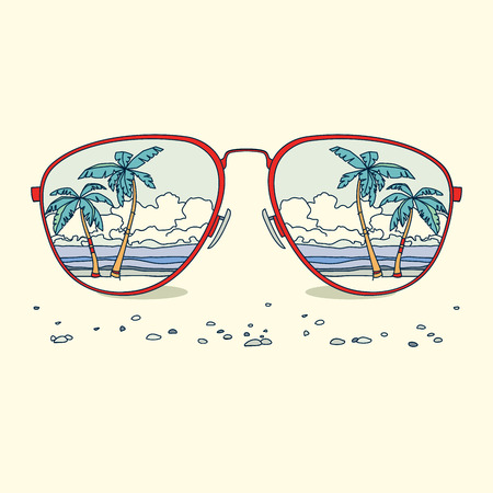 Reflectie van het strand, palmbomen, strand in zonnebril. vector achtergrond