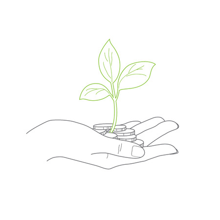 investment concept: Investment concept, close up of female hand holding stack of coins with small plant vector