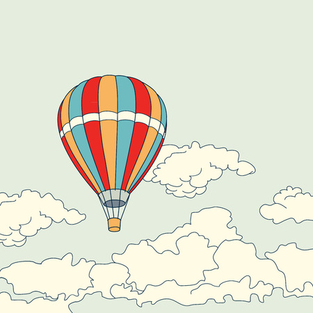 hot air ballon: Air balloon flying in the clouds sky vector illustration