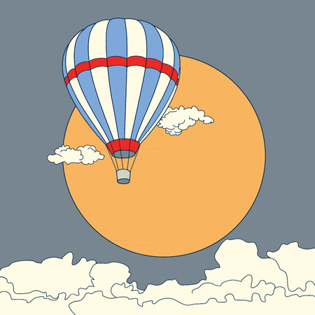 sunset clouds: Air balloon flying in the clouds at sunset sky vector illustration