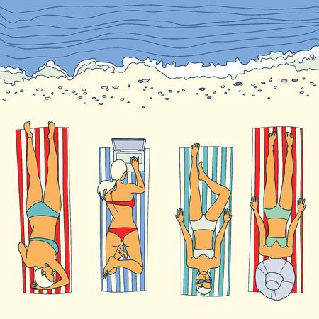sunbathing: Summer beach sunbathing girl vector illustration Illustration