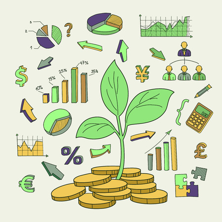 money concept: Money tree sprout and financial symbols vector sketch. Hand drawn business doodles set Illustration