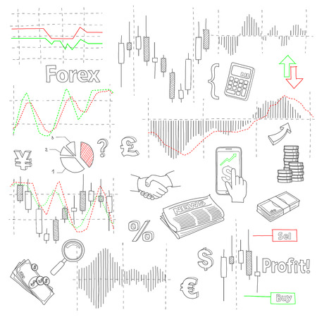 foreign exchange: Forex market hand drawn vector background with business, financial data and diagrams, graphs and foreign exchange related elements Illustration