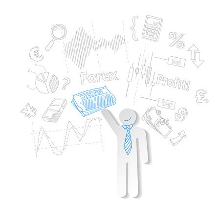 stock trader: Comerciante de la divisa y el s�mbolo de noticias de comercio de acciones, ilustraci�n vectorial Vectores