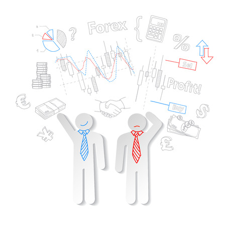 stock trading: Forex traders and symbols stock trading, vector illustration