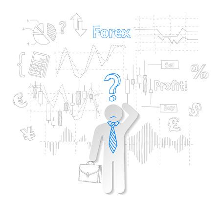 stock trader: Comerciante de la divisa y el s�mbolo de la pregunta de comercio de acciones ilustraci�n vectorial