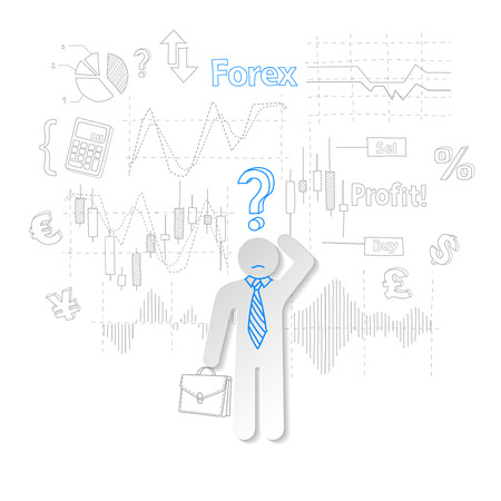 stock trading: Forex trader and question symbol stock trading vector  illustration
