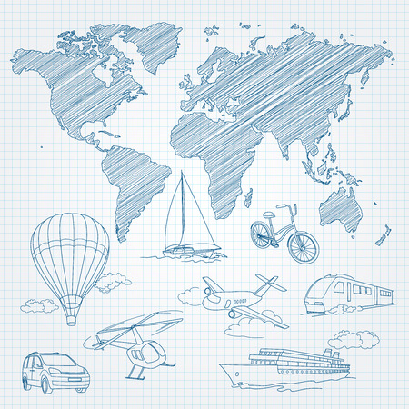 Travel Transport and world map line sketch on page notepad illustration