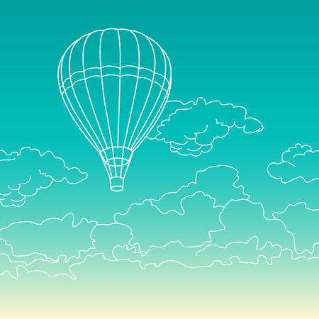 sky clouds: Air balloon flying in the clouds sky illustration