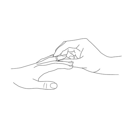 ring finger: Her Put the Wedding Ring on He vector illustration