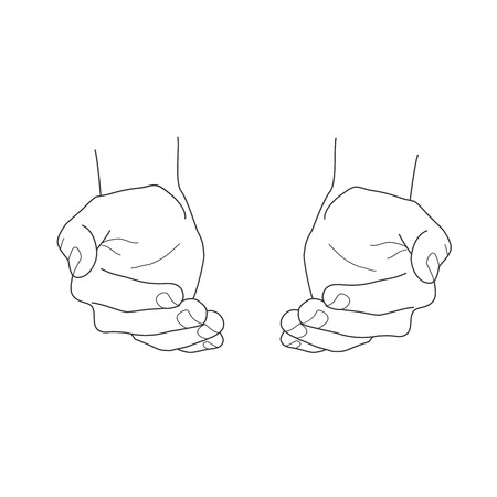 cupped: Open empty hands vector illustration Illustration