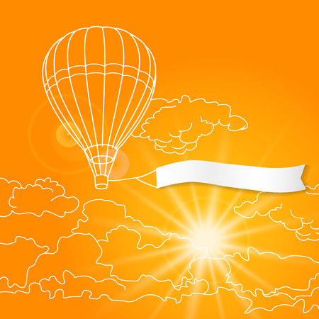 blank banner: Air balloon with blank banner flying in the clouds sky vector illustration