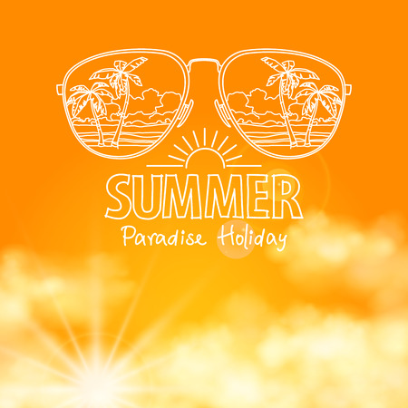 sunny beach: Reflection of the beach in sunglasses in the sunny orange sky  vector background