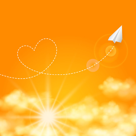 trajectory: Love travel concept a paper plane flying in the sunny orange sky leaving behind a heart shaped smoke trail vector background Illustration