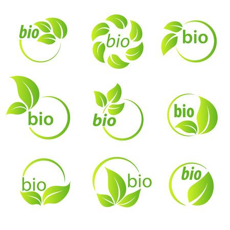 Set of green leaves bio symbol logo design elements Illustration