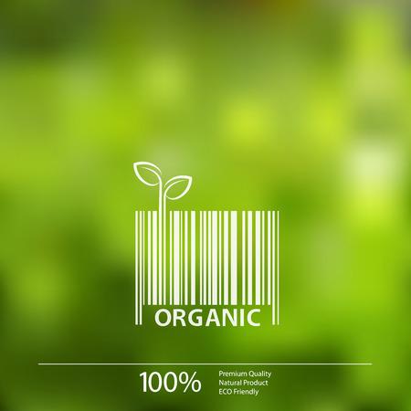 Vecteur floue nature de fond avec le label écologique de code-barres Organic Farm Fresh Food. Vecteurs