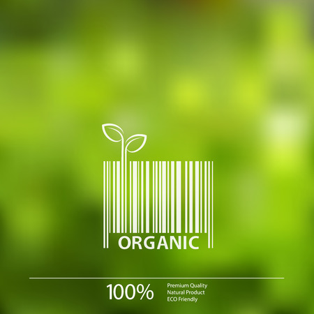 organic: Vector blurred nature background with eco barcode label of Organic Farm Fresh Food.