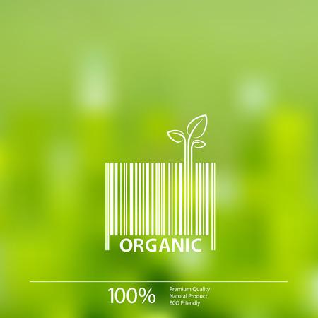 saludable logo: Orgánica símbolo de código de barras en borrosa de fondo ilustración vectorial. Organic Farm Fresh Food.