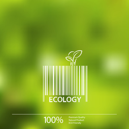 ecology background: Ecology  barcode symbol on blurry background vector illustration. Illustration