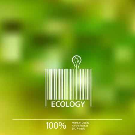Ecology  barcode symbol on blurry background vector illustration. 向量圖像