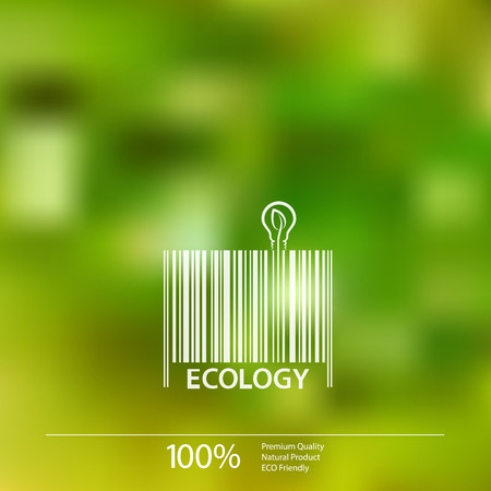 biology: Ecology  barcode symbol on blurry background vector illustration. Illustration