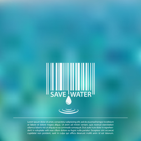 Blurred sea background with save water barcode label  vecto file