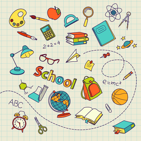 School doodle on notebook page vector background file Çizim