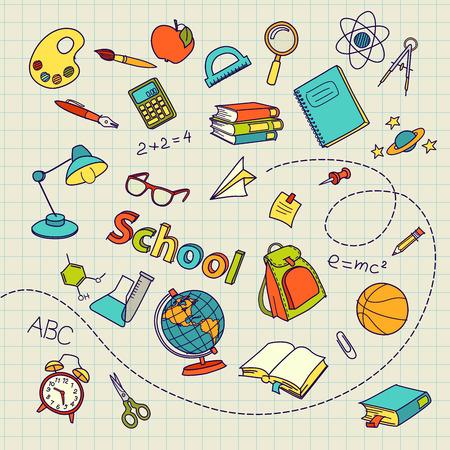 School doodle on notebook page vector background file Illustration