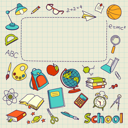 escuelas: Bosquejo de la escuela en la página con el espacio para el texto vector