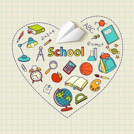 paper plane: Paper plane and school doodle heart-shaped vector background concept
